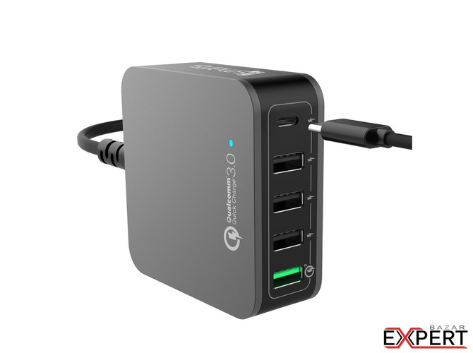 Incarcator retea 4smarts Mains Charging Station VoltPlug Quick Charge 3.0 USB Type-C 40W Negru