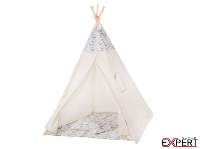 Cort copii stil indian Teepee Feathers XXL